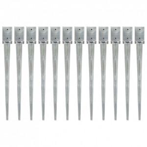 Țăruși de sol, 12 buc., argintiu, 9x9x90 cm, oțel galvanizat