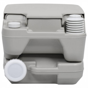 Toaletă portabilă pentru camping, gri, 10+10 L