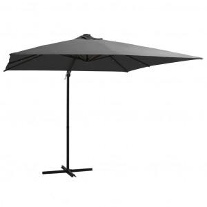 Umbrelă suspendată cu LED, stâlp din oțel, antracit, 250x250 cm
