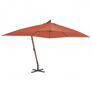 Umbrelă suspendată cu stâlp din lemn, cărămiziu, 400 x 300 cm