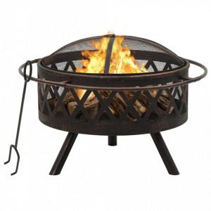 Vatră de foc rustică, cu vătrai, 76 cm, oțel, XXL