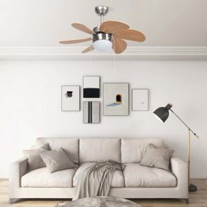Ventilator tavan cu iluminare, maro deschis, 76 cm