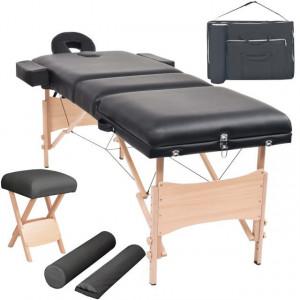 Set taburet și masă de masaj pliabilă în 3 zone, grosime 10 cm, negru