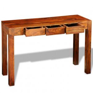 Masă consolă cu 3 sertare, 80 cm, lemn masiv de sheesham