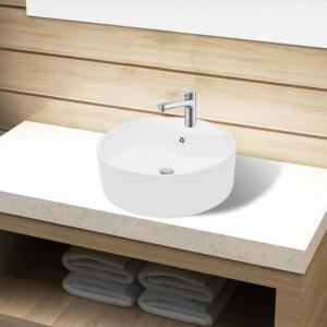Bazin chiuvetă ceramică baie cu gaură robinet/preaplin, rotund, alb