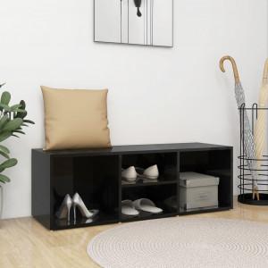 Bancă depozitare pantofi, negru extralucios, 105x35x35 cm, PAL