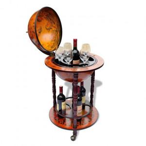 Bar pentru sticle de vin, tip glob pământesc, lemn
