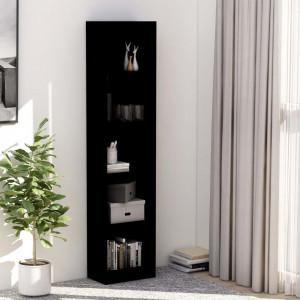 Bibliotecă cu 5 rafturi, negru, 40 x 24 x 175 cm, PAL