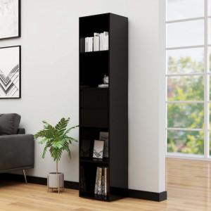 Bibliotecă, negru extralucios, 36 x 30 x 171 cm, PAL