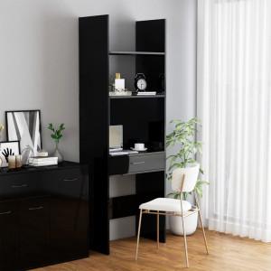 Bibliotecă, negru extralucios, 60x35x180 cm, PAL