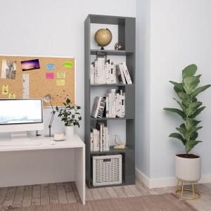 Bibliotecă/Separator cameră, gri lucios, 45x24x159 cm, PAL