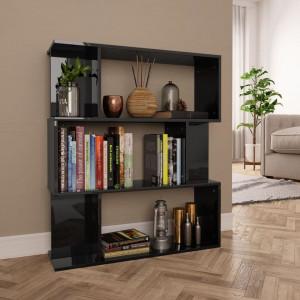Bibliotecă/Separator cameră, negru foarte lucios 80x24x96cm PAL
