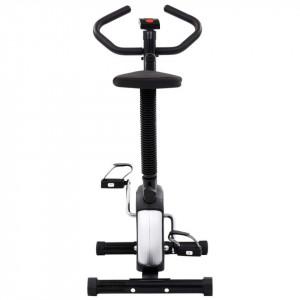 Bicicletă de fitness cu curea de rezistență, negru