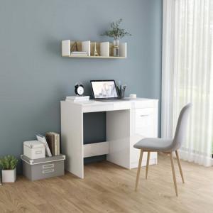 Birou, alb extralucios, 100 x 50 x 76 cm, PAL