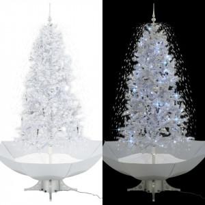 Brad de Crăciun cu ninsoare și bază umbrelă, alb, 190 cm