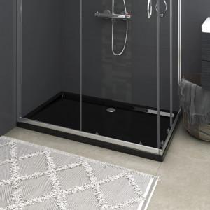 Cădiță de duș dreptunghiulară din ABS, neagră, 70x120 cm