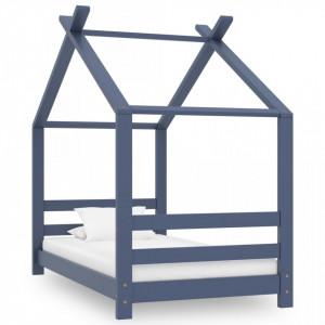 Cadru de pat pentru copii, gri, 70 x 140 cm, lemn masiv de pin