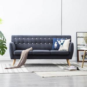 Canapea 3 locuri, tapițerie textilă, 172x70x82 cm, gri închis