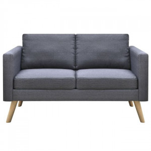 Canapea cu 2 locuri, material textil, gri închis
