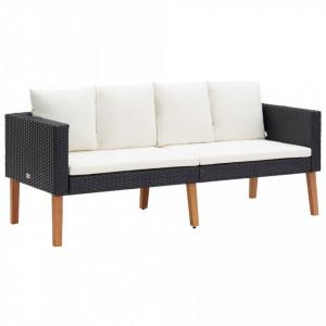 Canapea de grădină cu 2 locuri, cu perne, negru, poliratan