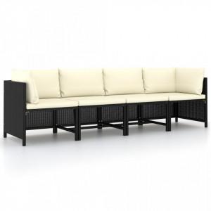 Canapea de grădină cu 4 locuri, cu perne, negru, poliratan