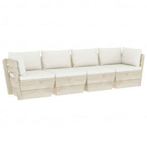 Canapea grădină 4 locuri din paleți, cu perne, lemn de molid