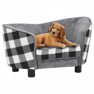 Canapea pentru câini, gri, 68 x 38 x 38 cm, pluș