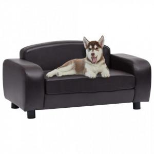 Canapea pentru câini, maro, 80 x 50 x 40 cm, piele ecologică