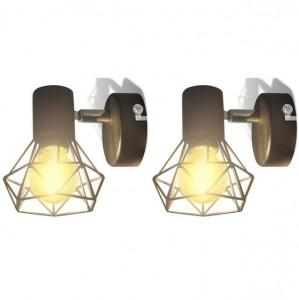 Candelabru perete cadru stil industrial 2 becuri LED filament, negru