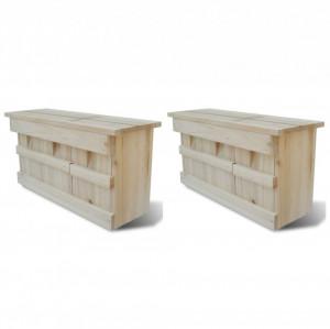 Case de vrăbii, 2 buc., 44 x 15,5 x 21,5 cm, lemn