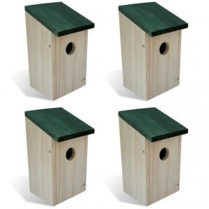 Căsuțe de păsări, 4 buc., 12 x 12 x 22 cm, lemn
