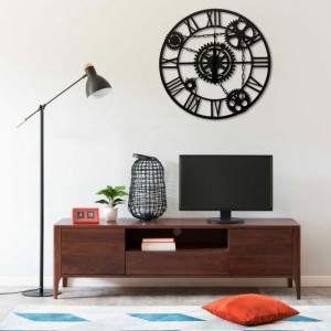 Ceas de perete, negru, 80 cm, metal