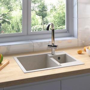 Chiuvetă de bucătărie dublă cu orificiu de preaplin, bej granit