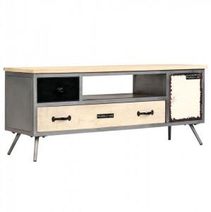 Comodă TV, 120 x 30 x 45 cm, lemn masiv de mango și oțel