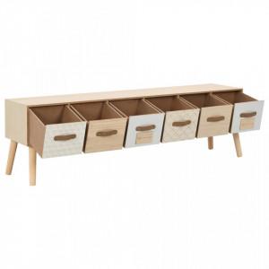 Comodă TV cu 6 sertare, 130 x 30 x 40 cm, lemn masiv de pin
