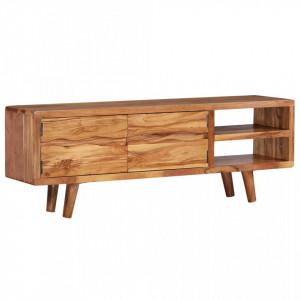 Comodă TV din lemn masiv de acacia, uși sculptate, 117x30x40 cm