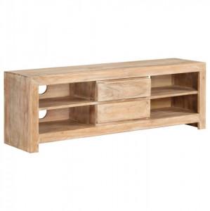 Comodă TV, lemn masiv de acacia, 120 x 30 x 40 cm, maro deschis