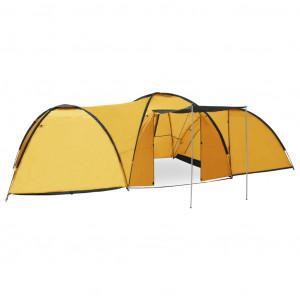 Cort camping tip iglu, 8 persoane, galben, 650 x 240 x 190 cm