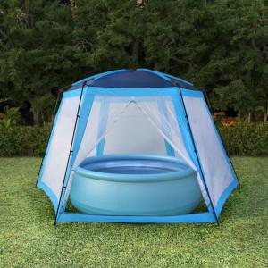 Cort de piscină, albastru, 590 x 520 x 250 cm, țesătură