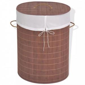 Coș de rufe din bambus, oval, maro