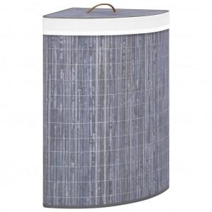 Coș de rufe din bambus, pentru colț, gri, 60 L