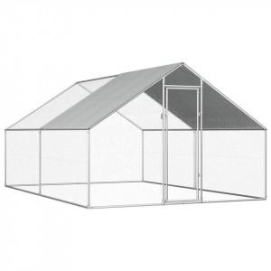 Coteț de exterior pentru păsări, 2,75x4x2 m, oțel galvanizat
