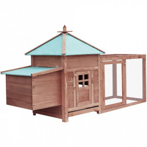 Coteț păsări cu un cuibar, cafeniu, 193x68x104 cm, lemn de brad