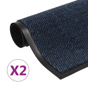 Covoare ușă anti-praf, 2 buc. albastru, 60x90 cm dreptunghiular