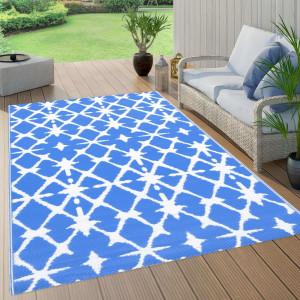 Covor de exterior, albastru/alb, 120x180 cm, PP