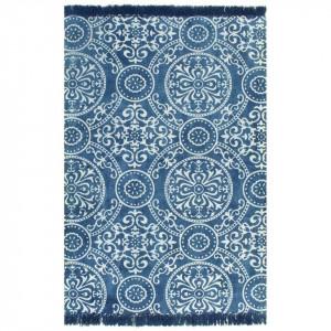 Covor Kilim, albastru, 160 x 230 cm, bumbac, cu model