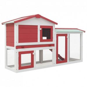 Cușcă exterior pentru iepuri mare roșu&alb 145x45x85 cm lemn