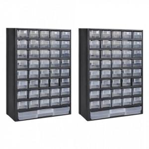 Cutie de depozitare unelte cu 41 sertare, 2 buc, plastic