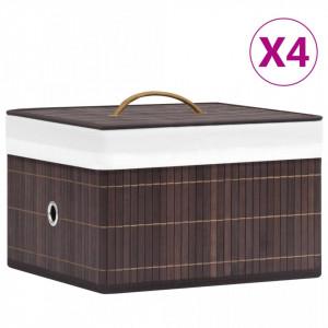 Cutii de depozitare, 4 buc., maro, bambus