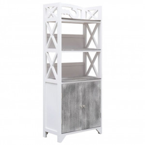 Dulap de baie, alb și gri, 46 x 24 x 116 cm, lemn de paulownia